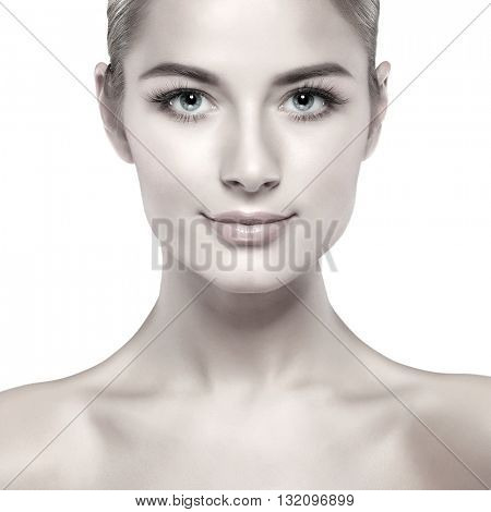 Closeup portrait of sexy whiteheaded young woman with beautiful blue eyes isolated on a white background, emotions, cosmetics
