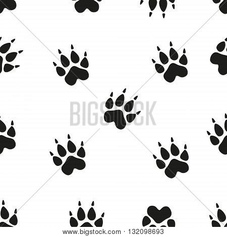 Animal footprint seamless pattern. Paw. Vector seamless pattern with paw footprints of a dog.