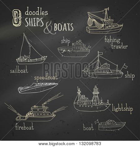 Vector Chalk Doodles Ship And Boat Icons Set.