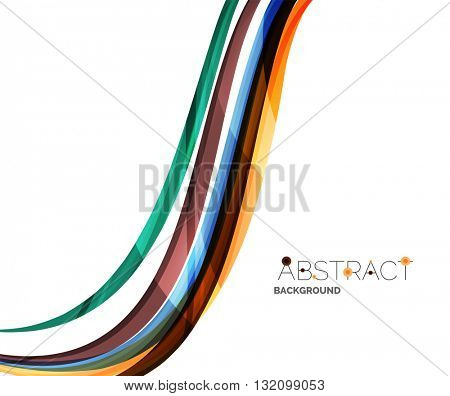 Rainbow color lines on white. Identity wave element. Vector unievrsal presentation concept