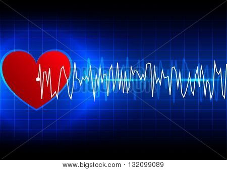abstract heart rhythm ekg technology background. illustration vector design