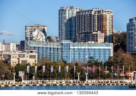 Sochi, Russia - February 9, 2016: Sochi, Russia - February 9, 2016: Modern architecture on the coast Black Sea in city Sochi. The hotel complex Sochi Plaza