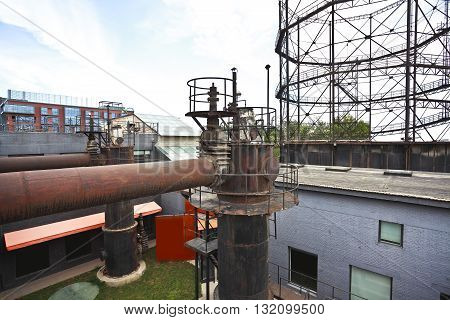 The Old Abandoned Closed Steel Steelworks Of Pipelines