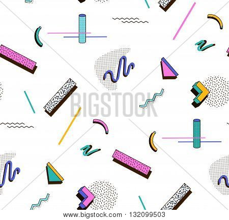 Bright geometric pattern in the style of Memphis style. Vector seamless pattern of fashion.