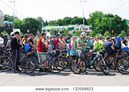 Kharkiv, Ukraine - May 29, 2016: annual city festival bike ride through the streets of Kharkov