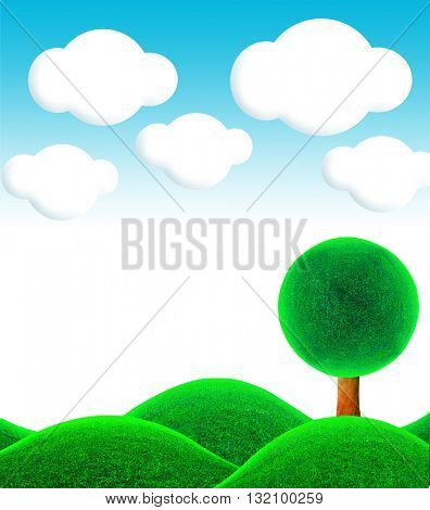 Fantastic landscape. 3D illustration