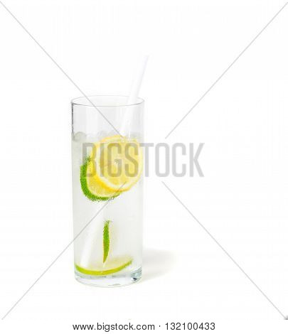 Ice cold lemon and lime soda isolated on white background