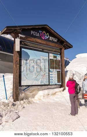 Sochi, Russia - February 10, 2016: Rosa Khutor Alpine Resort. Krasnaya Polyana, Krasnodar region