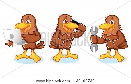 Hawk Mascot Vector with phone laptop and mechanics