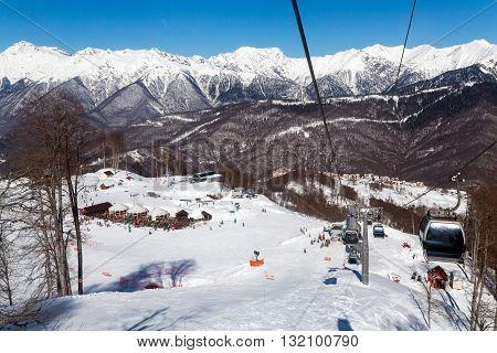 Sochi, Russia - February 10, 2016: Ski lift in Rosa Khutor Alpine Resort in Sochi