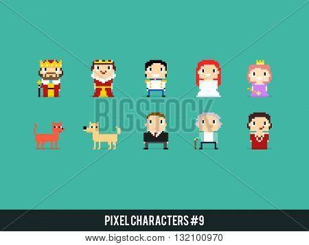 Set of different pixel art characters with king queen prince and princesses