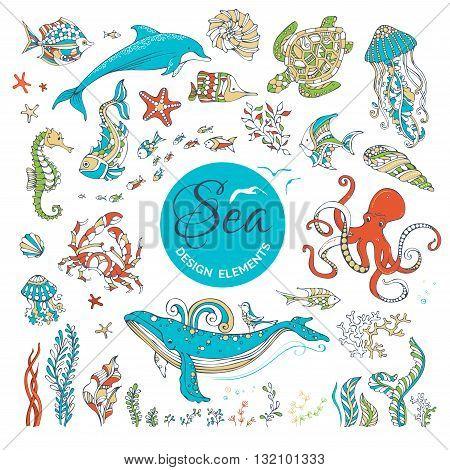 Vector Set Of Cartoon Wild Underwater Sea Life.