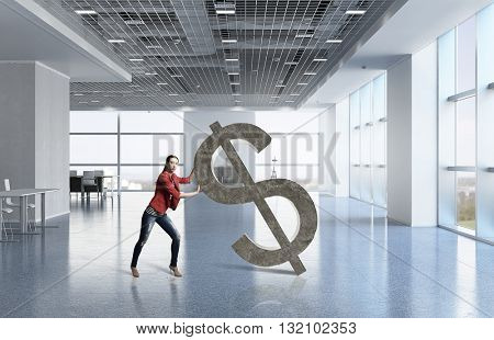 Woman and dollar currency sign