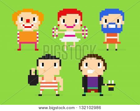 Pixel art characters group of circus people: clown juggler bearded woman strong man magician with rabbit in cylinder