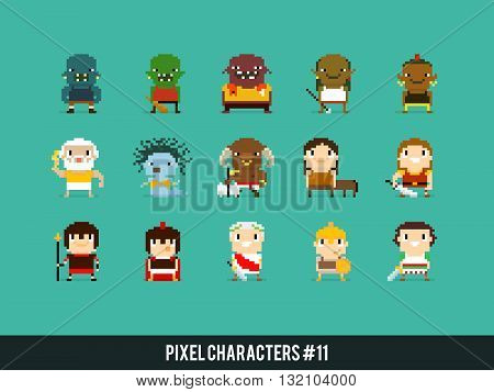 Pixel art characters orcs greek mythology characters and roman warriors