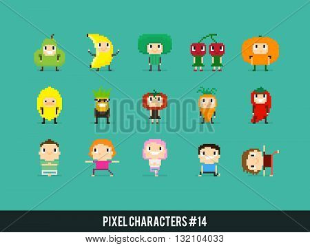Pixel art characters people in fruits and veggies costumes and people doing yoga