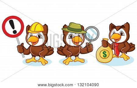 Owl Mascot Vector with money sign and magnifying glass