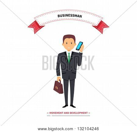 Businessman speaking on a phone. Success businessman with telephone speak, man worker calling to work and male young confident executive in suit speaking on telephone. Vector illustration
