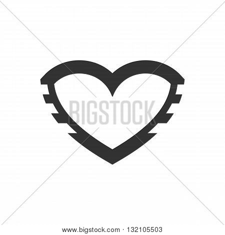 Beautiful stylized iron heart for valentine day vector illustration isolated on white backgound.