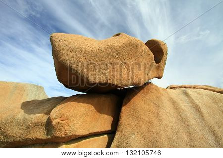the  rock on the path of the customs officers, Perros Guirec, France