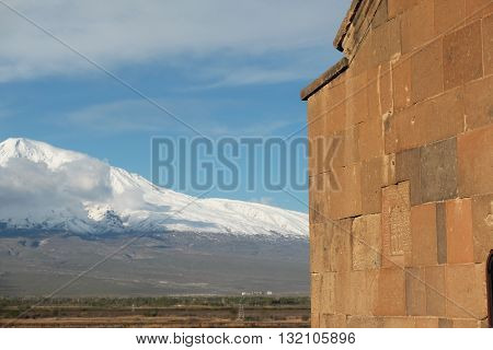 Part of ancient monastery Khor Virap in Armenia with Ararat mountain at background. Was founded in years 642-1662.