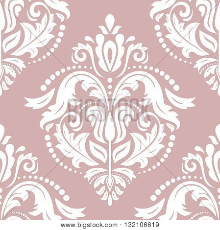 Oriental vector classic pattern. Seamless abstract background with repeating elements. Purple and white pattern