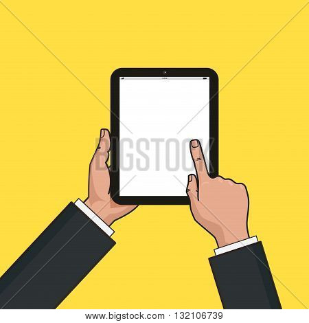 Digital tablet in businessman hands. Hands using tablet. Mockup of modern vertical tablet with touchscreen. Vector flat design.
