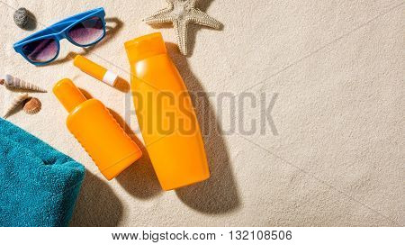 Beach accessories with copy space on the right side