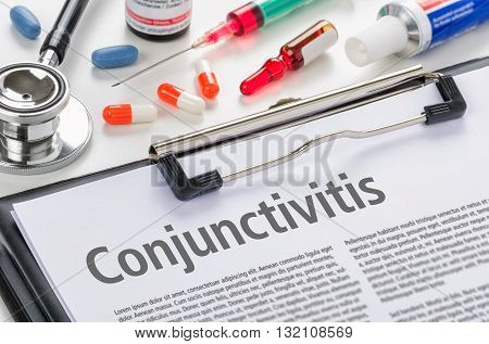 The Diagnosis Conjunctivitis Written On A Clipboard