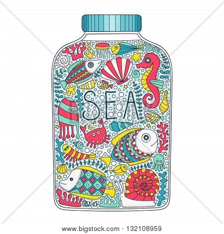Sea jar. Vector doodle bottle with sea elements - fish crab bubbles snail shell seastar sea horse seaweed corals. Hand drawn. Isolated.