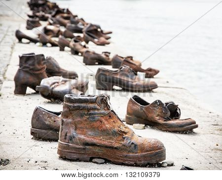 Shoes on the Danube bank is a memorial in Budapest Hungary. Place of reverence. Cultural heritage. Symbolic object. Shoes monument.