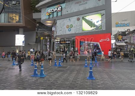 BANGKOK THAILAND - APR 30 : people walk across crosswalk near Siam Square One in siam square on april 30 2016 thailand. siam square is famous shopping place of Bangkok