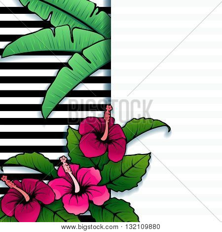 Brightly colored line art tropical banner with stripes and hibiscus flowers. Graphics are grouped and in several layers for easy editing. The file can be scaled to any size.