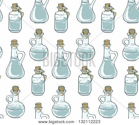 Seamless pattern with bottles. Vector hand-drawn illustration.