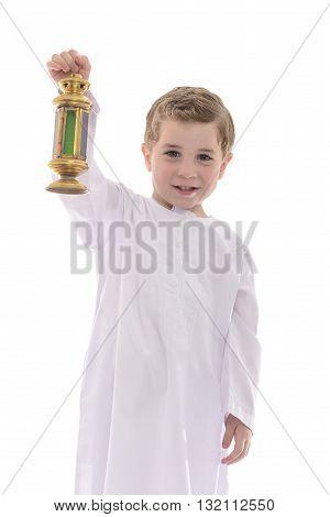 Happy Young Muslim Boy With Ramadan Fanoos