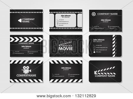 Vector set of creative business cards. Cards for movie, film maker, producer