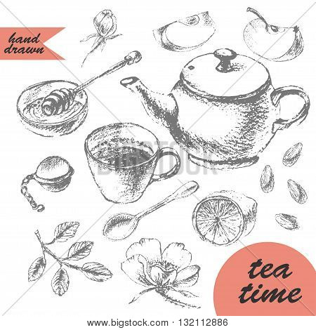 Hand drawn pencil sketch of tea and dessert. Teapot apple tart tea cup lemon honey and apple.