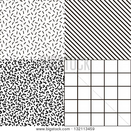 Black and white set memphis fabric postcards backgrounds. Hipster background Print