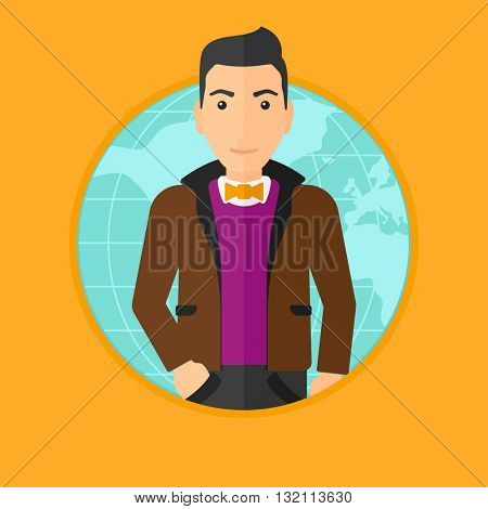 A business man standing on a world map background. Business man taking part in global business. Global business concept. Vector flat design illustration in the circle isolated on background.