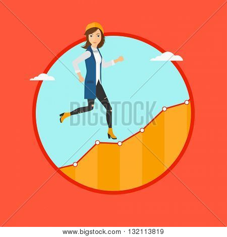 Cheerful businesswoman running along the growth graph. Businesswoman going up. Woman moving up. Successful business concept. Vector flat design illustration in the circle isolated on background.
