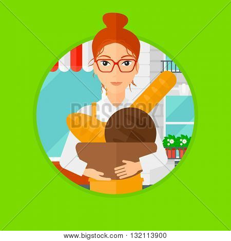 A female baker holding basket with bakery products. Baker standing in front of bakery. Baker with bowl full of bread. Vector flat design illustration in the circle isolated on background.