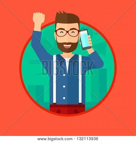Excited businessman raising his arm while getting good news on mobile phone near the growth chart. Business success concept. Vector flat design illustration in the circle isolated on background.