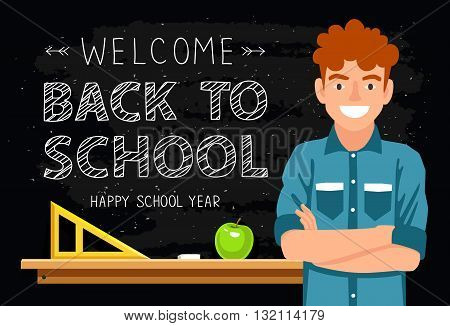 Welcome back to school. Portrait of a boy on a background of a black school board. The concept of school education. Vector illustration. The trend calligraphy.