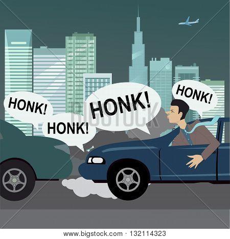 City commute. Upset motorist stuck in traffic, vector cartoon