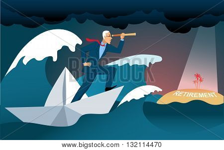 Retirement goals. Middle age businessman crossing a stormy sea in a paper boat, looking in a telescope at the island with the word retirement written on it, vector cartoon