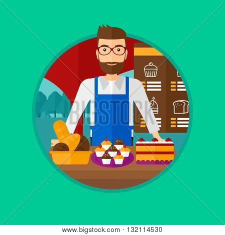 A hipster bakery worker offering different pastry. A bakery worker standing behind the counter with cakes at the bakery. Vector flat design illustration in the circle isolated on background.