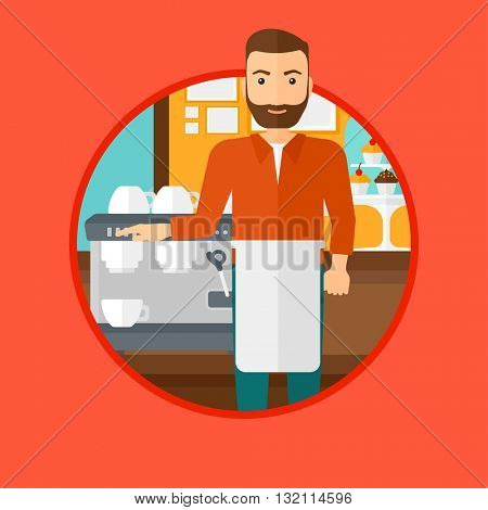 A hipster barista with the beard sanding in front of coffee machine. Barista at coffee shop. Barista making a cup of coffee. Vector flat design illustration in the circle isolated on background.