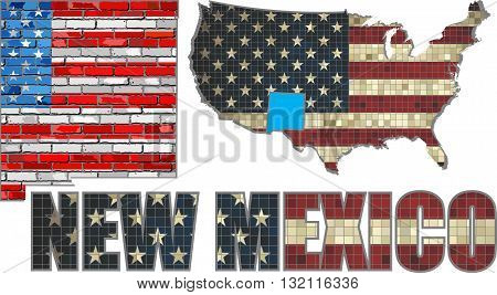 USA state of New Mexico on a brick wall - Illustration, The flag of the state of New Mexico on brick textured background,  New Mexico Flag painted on brick wall, Font with the United States flag,  New Mexico map on a brick wall