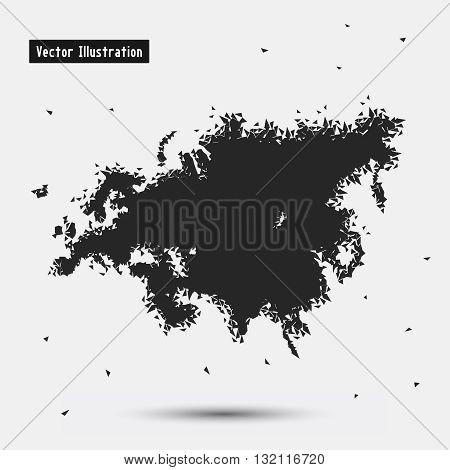 Eurasia. Vector eps10 illusration. Particle divergent composition
