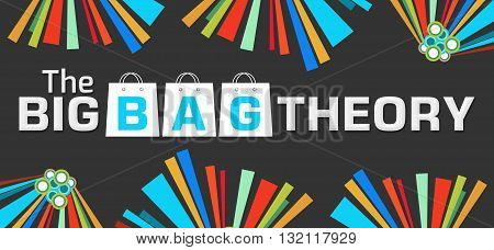 The big bag theory text written over dark colorful background.
